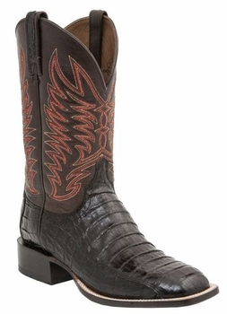 "Mens ""Logan"" Lucchese Since 1883 Black Cherry Caiman Belly Tail Boot M2665"