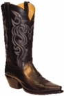 "Star Boots for Men 13"" Black Buffalo Calf Leather Cowboy Boots M7016"