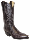 "Star Boots for Men 13"" Black Cherry Leather With Fancy Stitching Cowboy Boots M7027"