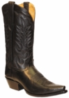 "Star Boots for Men 13"" Black Deer Tan Leather Cowboy Boots M7000"