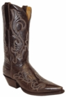 "Star Boots for Men 13"" Chocolate Manchester Leather With Fancy Stitching Cowboy Boots M7029"
