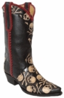 "Star Boots for Men 13"" Hand Tooled Leather Skull & Crossbones Triad Boots M7060"