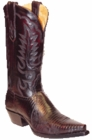 Star Boots for Men Black Cherry Lizard Leather Boots M9204