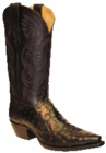 Star Boots for Men Black Full Quill Ostrich Leather Boots M9227