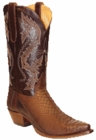 Star Boots for Men Dark Brown Back Cut Python Leather Boots M9222