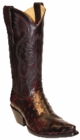 Star Boots for Women Black Cherry Full Quill Ostrich Leather Boots W9228