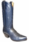 Star Boots for Women Blue Oily Nappa Leather Cowboy Boots W7008