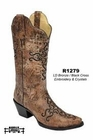 Women's Corral Bronze & Black Cross Embroidery with Crystals Boot R1279