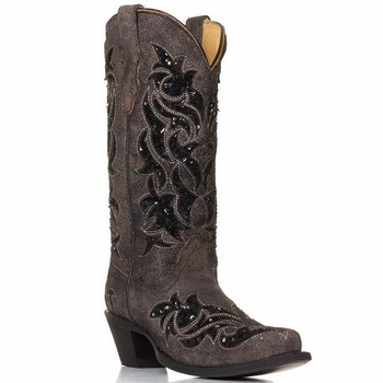 Women's Corral Brown and Black Sequin Inlay Boot R1152