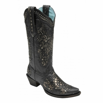 Women's Corral Metallic Black Lace & Stud Boots C2887