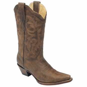 Women's Corral Tobacco Brown Distressed Leather Boot Size 6.5B Style:C2033
