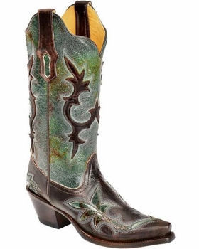 Women's Corral Turquoise Green with Chocolate Patch Boot R1178