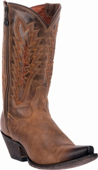"Women's Dan Post ""Trish"" Tan with Burnished Toe and Zipper Boot DP3631"