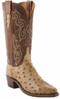 "Women's Lucchese ""Lillian"" Tan Burnished Pin Ostrich Boots N4061"