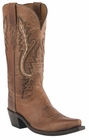Womens Lucchese Since 1883 Western Tan Mad Dog Goat With New Leaf Stitch Design M4999