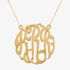 2 inch Traditional Gold over Silver Monogram Necklace