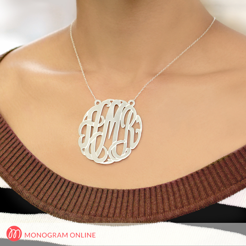 Image of 2 inch Traditional Silver Monogram Necklace
