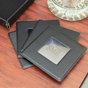 "5 Piece Black Coaster Set 3.5"" Square"
