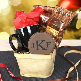 """A Cup Of Joe"" Personalized Coffee Wood Basket Set"