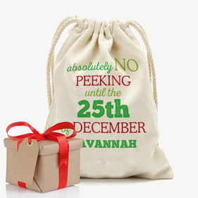 Absolutely No Peeking Custom Christmas Drawstring Sack