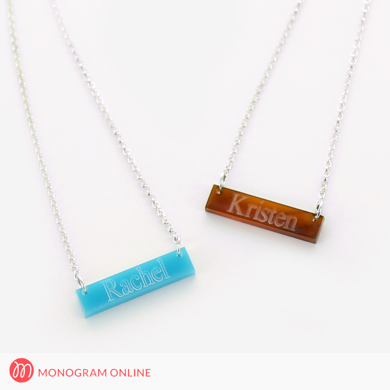 Image of Acrylic Bar Necklace Engraved with Name