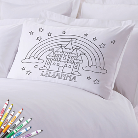 Add Color Kids Custom Rainbow Castle Pillowcase