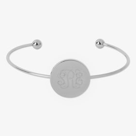 Adjustable Monogram Stainless Steel Disk Slim Bangle Bracelet