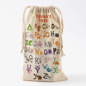 Alphabet Farm Personalized Drawstring Toy Bag
