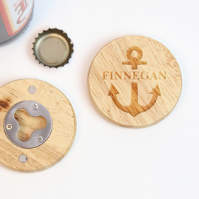 Anchor Personalized Round Wooden Magnetic Bottle Opener