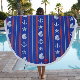 Anchors Stars & Shells Custom Round Terry Beach Towel