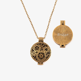 Antiqued Gold Essential Oil Diffuser Locket Necklace