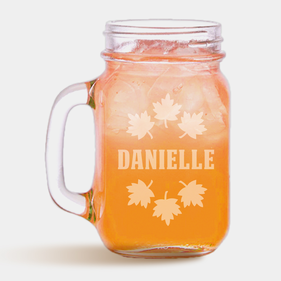 Autumn Fall Leaves Personalized Mason Jar