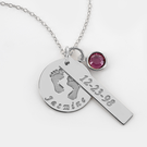 Baby Birth Sterling Silver Necklace Personalized with Name, Date and Swarovski Birthstone