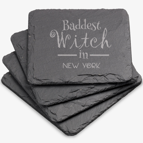 Baddest Witch Custom Square Slate Coasters