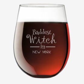 Baddest Witch Custom Stemless Wine Glass