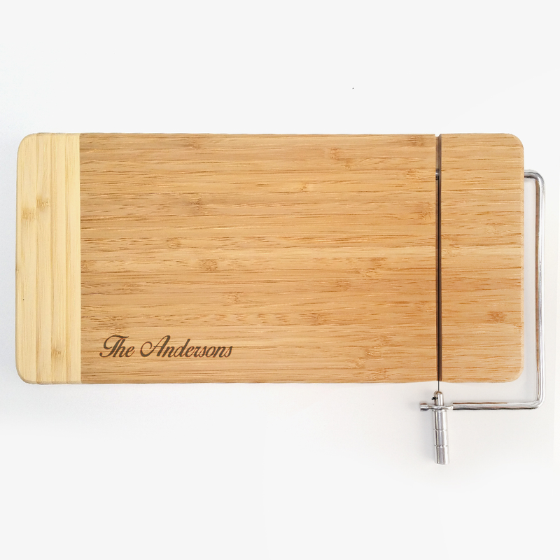 bamboo cutting board with cheese cutter