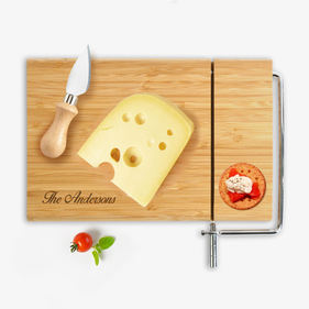 Personalized Bamboo Cutting Board with Cheese Cutter