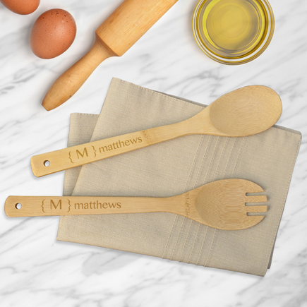 Bamboo Salad Spoon & Spork Personalized Set