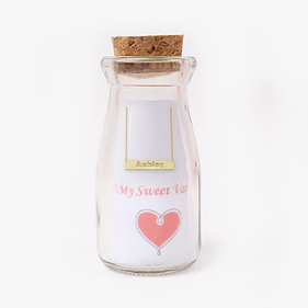 Bar Name Necklace w/ Valentine Message in A Bottle