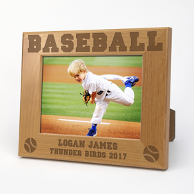 Baseball Personalized Wood Picture Frame