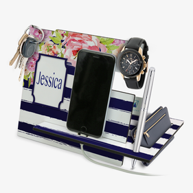 Exclusive Sale - Be The Best Version Of You Striped Floral Custom Desk Organizer