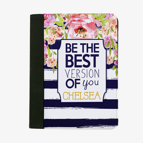 Be The Best Version Of You Striped Floral Custom File Folder