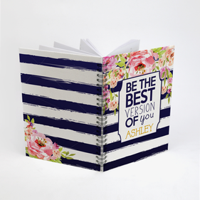Be The Best Version Of You Striped Floral Custom Spiral Notebook