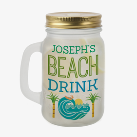Beach Drink Custom Frosted Mason Jar w/ Lid & Straw
