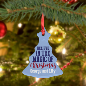 Believe In The Magic Of Christmas Custom Ceramic Tree Ornament