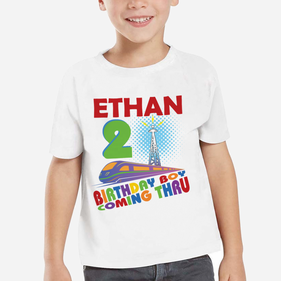 Exclusive Sale - Birthday Boy Coming Thru Personalized T-Shirt for Boys