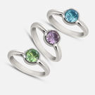 Sterling Silver Stackable Rings Personalized w/ Birthstone