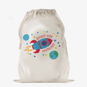 Blast Off To Dream Land Large Custom Drawstring Sack