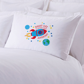 Blast Off To Dream Land Personalized Pillowcase