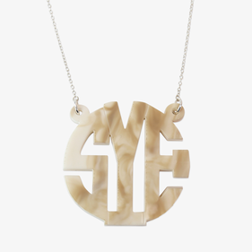 Block Marble Custom Acrylic Monogram Necklace